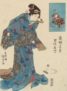 Travel scene.   Ukiyo-e woodblock print. Mid 1800's, Japan, by artist Utagawa Kunisada I