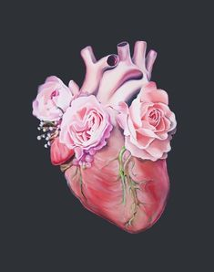 Floral Heart II Anatomy Heart Print of Oil Painting - Anatomical Art Print - Human Body - Medical Art - body art Heart Anatomy Tattoo, Human Heart Tattoo, Arte Com Grey's Anatomy, Anatomy Art, Anatomy Drawing, Skeleton Flower, Medical Art, Anatomical Heart, Tumblr Wallpaper