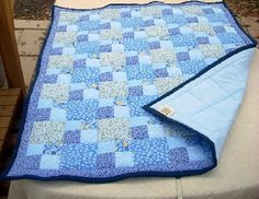 Vintage Style Patchwork Quilt in Shades of Blue