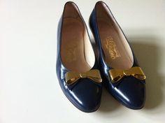 DREAM SHOES- Vintage Ferragamo Navy Heels by PlushAndRepBoutique on Etsy, $49.00