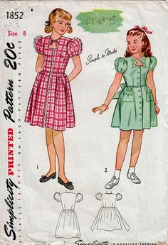 1940s Simplicity 1852 Vintage Sewing Pattern Girls' Party