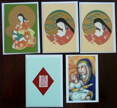Vintage Lot of Japanese Christmas Cards, Blank Card, Postcard - Madonna and Child - Printed in Japan
