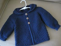 Navy Blue Crochet Baby Boy Sweater with Hood. 6-12 Months in Tunisian Crochet - MADE TO ORDER - Handmade