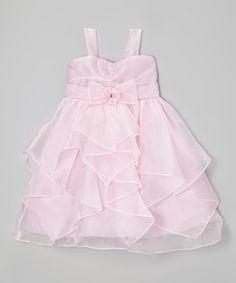 Look what I found on #zulily! Pink Bow Organza Handkerchief Dress - Girls #zulilyfinds