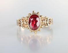 Victorian 10K Gold Garnet Ring antique jewelry size 8.75
