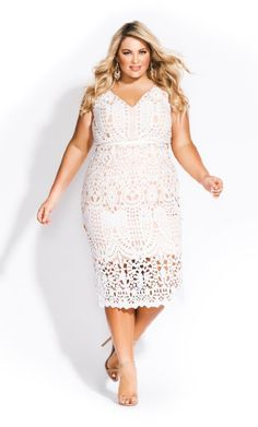 Shop Women's Plus Size All Class Dress - ivory - Dresses Shirred Dress, Belted Dress, Lace Dress, Plus Size Dresses, Plus Size Outfits, Plus Size Wedding, Colorblock Dress, City Chic, Skirt Fashion