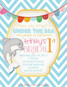 Pool Party Invitation Under the Sea Birthday by SugarTotDesigns. , via Etsy.