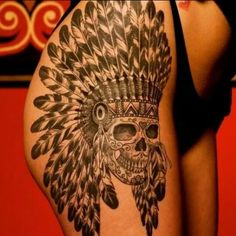 Hip tattoo designs / skull tattoo/ female hip tattoos/ Indian feather head piece