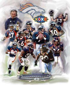 denver broncos   Denver Broncos Super Bowl XXXII Champions Vertical Stretched Giclee ...