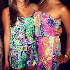 Lilly Pulitzer Deanna Romper and Windsor Strapless Pull-On Dress via Anna D Instagram