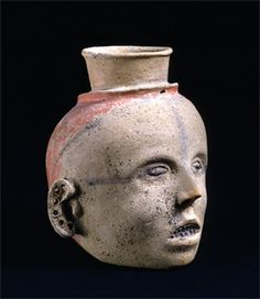 Mississippian clay human head effigy jar, 1350-1550 CE, from the Parkin Site, the ancient chiefdom of Casqui, Cross County, Arkansas (northeastern AR, on the St. Francis River). Fenimore Art Museum.