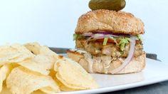 Mixed seafood burger with horseradish tartar sauce
