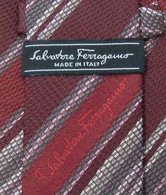 Salvatore Ferragamo Tie Woven Silk Stripe Theme Pattern Red Vintage Designer Dress Slim Necktie Made In Italy by InPersona on Etsy