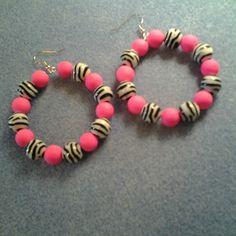 Pink, Black and White BEaded Hoop Earrings   LOVE33 - Jewelry on ArtFire