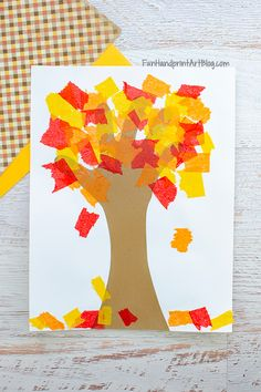 How to make a Tissue Paper Fall Tree Handprint Craft with toddlers, preschoolers, and kindergartners. #craftsforkids #funhandprintartblog #fallcraftsforkids Acorn Crafts, Leaf Crafts, Tree Crafts, Autumn Activities For Kids, Thanksgiving Crafts For Kids, Crafts For Kids To Make, Tissue Paper Trees, Tissue Paper Crafts, Paper Leaves