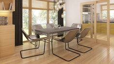 Moderna casa de 1 planta con techo a cuatro aguas y 166 m2-6 Dining Chairs, Dining Table, Outdoor Furniture Sets, Outdoor Decor, Design Case, Postmodernism, Home Projects, House Plans, New Homes