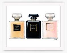 Coco Chanel No 5 parfum Print roze  Kunst aan de muur