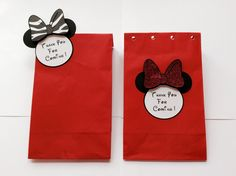 Minnie Mouse red favor paper bags with 3D thank you tags, birthday decorations,party supplies, baby shower,bridal shower,Mickey and friends by LoveToFiesta on Etsy