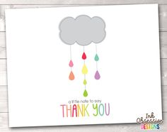Shower Cloud Colorful Printable Thank You Cards – Erin Bradley/Ink Obsession Designs Baptism Thank You Cards, Funny Thank You Cards, Wishes For Baby Cards, Thank You Greetings, Wedding Thank You Cards, Baby Wishes, Thank You Card Design, Thank You Card Size, Printable Thank You Cards