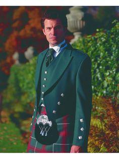 Welsh National Tartan--This Welsh National Kilt is worn with a Green Prince Charlie Jacket, 5 Button Waistcoat, Victorian Wig Collar Shirt, Dark Green Ruche and Black Sporran.