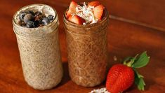 How to make overnight oats. What's better than not having to worry about breakfast first thing in the morning? Knowing your breakfast is guilt-free! Raw Food Recipes, Food Network Recipes, Cooking Recipes, Healthy Recipes, Kitchen Recipes, Yummy Recipes, Raw Vegan Breakfast, Breakfast Recipes, Breakfast Dishes