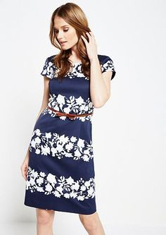 COMMA Schönes Abendkleid mit Floralprint in TwoTone Optik Short Sleeve Dresses, Dresses With Sleeves, Bright, Blue, Fashion, Gown Dress, Curve Dresses, Nice Asses, Moda