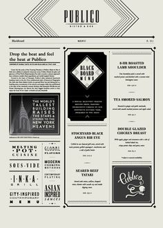 Publico Bistro & Bar: 1920's New York art deco speakeasy themed menus.