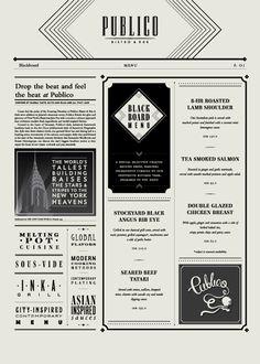 Publico Bistro & Bar: 1920's New York art deco speakeasy themed menus.