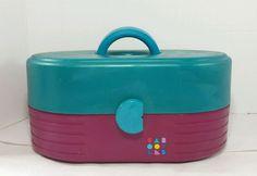 VIntage Caboodles Makeup Case Train Purple Teal  Mirror Organizer 2615 USA Retro #Caboodles
