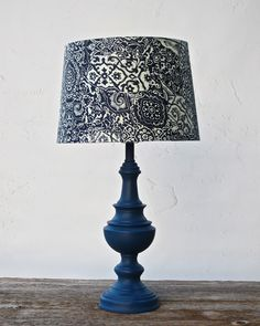 TABLE LAMP Navy Blue Nautical Napoleonic Cottage Chic Pattern Lamp Shade Hand Painted Hand Waxed Annie Sloan Chalk Paint by AlainasAttic on Etsy