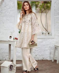 An elegant Ivory number 💛luxury pret attire from collection by Suffuse by Sana Yasir ❤️ Pakistani Wedding Outfits, Pakistani Dresses Casual, Pakistani Dress Design, Indian Dresses, Designer Party Wear Dresses, Kurti Designs Party Wear, Stylish Dresses, Women's Fashion Dresses, Formal Dresses