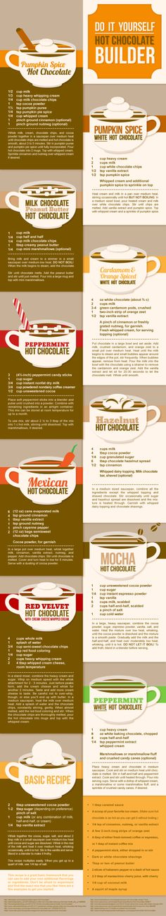 Get adventurous with your hot chocolate. | 18 Cheat Sheets That'll Help You Survive Christmas