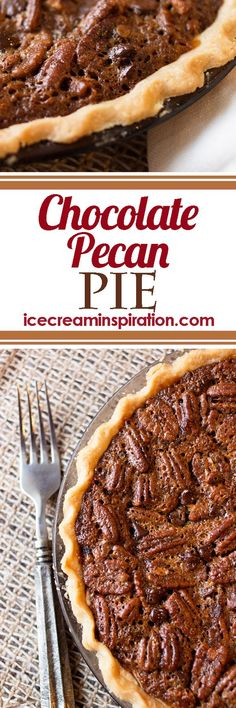 "This Chocolate Pecan Pie is like an upside-down ""turtle."" Chocolate and caramel goodness with pecans on top. I make this every Thanksgiving and Christmas, and you should, too! My favorite pie, EVER."