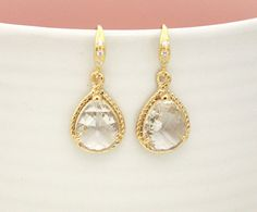 Clear crystal drop earring Gorgeous Drop stone in by ElliesButton, $24.00