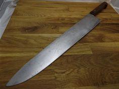 "Vtg HUGE Carbon Steel RAZOR SHARP Clyde Cutlery 14"" Blade BIG Chef Knife #ClydeCutleryOhio"