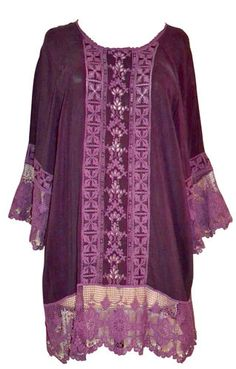 Johnny Was Tunic Blouse Purple Lace Plus Size 2X Shirt Retail $251 ours 4 less $119.99