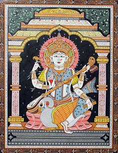 Saraswati+-+Goddess+of+Music+and+Knowledge+(Orissa+Paata+Painting+on+Canvas+-+Unframed))+