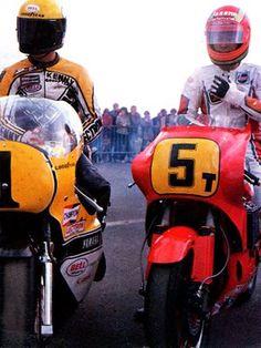 Kenny Roberts Yamaha and Takazumi Katayama Honda.