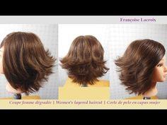 Coupe cheveux dégradée femme | Layered Bob haircut | Corte de pelo en capas mujer - YouTube