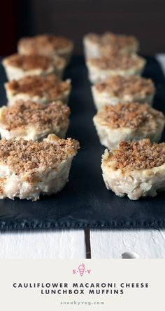 Cauliflower macaroni cheese lunchbox muffins