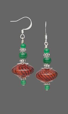 "Jewelry Design - Earrings with Malaysia ""Jade"" Gemstone Beads, Hand-Blown Glass Beads and Sterling Silver Beads - Fire Mountain Gems and Beads"