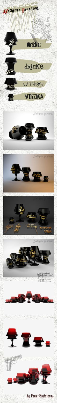 """GANGSTA PARADISE"" project of exlusive set of glass for alcohol inspired the gangster world of big cities. black glass painted with 24-karat gold or red transparent glass."