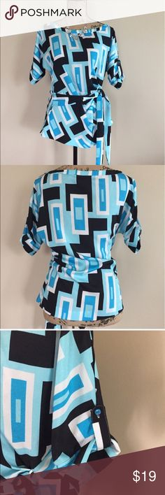 """NY & Co tie waist top Blue, aqua, and black geometric print blouse from NY & Co. Short dolman sleeves have button tabs, bateau neckline, attached waist tie, slightly fitted at waistline. Size S. Excellent condition. 100% polyester. Bust measures 21"""", length 24 1/2"""".  🍒 New York & Company Tops Blouses"""