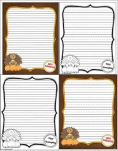 AUTUMN AND THANKSGIVING WRITING TEMPLATES - A 21 page pack of writing papers about Autumn, Thanksgiving, and Fall. Use these printable writing papers for writing prompts or essays.