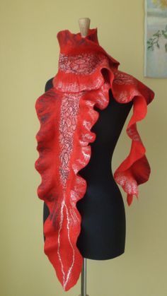 Felted Art scarf with mittens red black white long by HandyMaria, $185.00