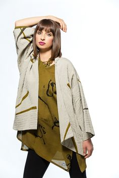 Quilted, hand painted silk kimono jacket with asymmetrical pocket top.
