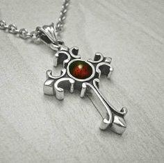 Mens silver crossmens cross necklacegarnet silver