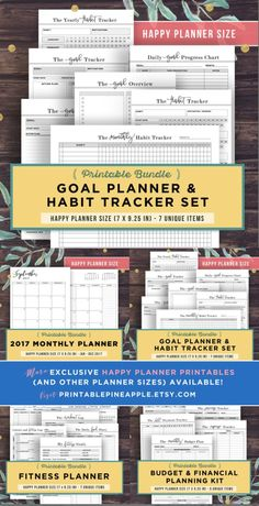 HAPPY PLANNER Inserts Printable, Habit Tracker and Goal Planner Bundle, MAMBI, me and & my big ideas, Goal setting, pdf, Get organized, Reach your goals #affiliate #organization #goals