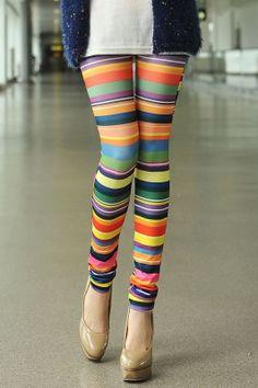 8834acd079 Colorful Print High Elasticity Straight Leg Leggings For Women