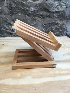 iPad Stand Tablet Holder Rustic Wood Adjustable iPhone